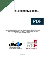 Memorial Descritivo Geral -UNIVASF