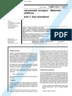 NBR 7153 - Instrumental cirurgico - Materiais metalicos - Parte 1 Aco inoxidavel.pdf