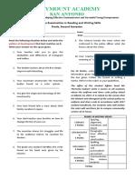 Summative Test Reading and Writing