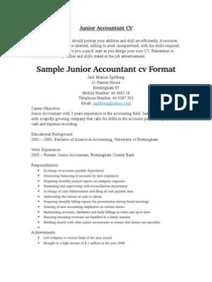 Junior Accountant CV | Recruitment | Employment