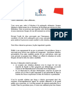 Courrier adressé le 28 juillet aux adhérents de LR dans le Loiret