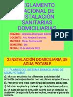 REGLAMENTO NACIONAL DE INSTALACIONES SANITARIAS DOMICILIARIAS 2. 1