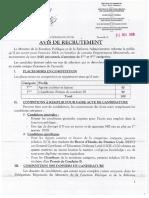 AVIS DE RECRUTEMENT DE 100 PERSONNELS D'ASTREINTES 2018 FRENCH
