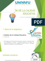 Gestión de Calidad Educativa UNIVAFU_