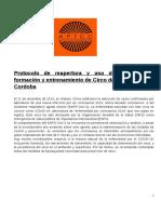 Protocolo de apertura y uso de espacios de formación y entrenamiento de Circo de Cordoba.