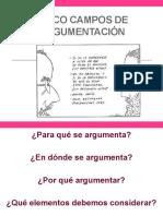 Cinco campos de argumentación