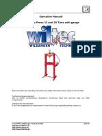 61480 WilTec Hydraulic 12 Ton Press with Manometer