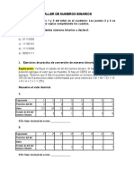 TALLER EN CLASE - CONVERSIONES NUMEROS BINARIOS - DECIMAL