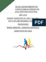 PROGRAMA DE EDUCACION FISICA AÑO 2020