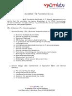 Course contents - ITIL FV3