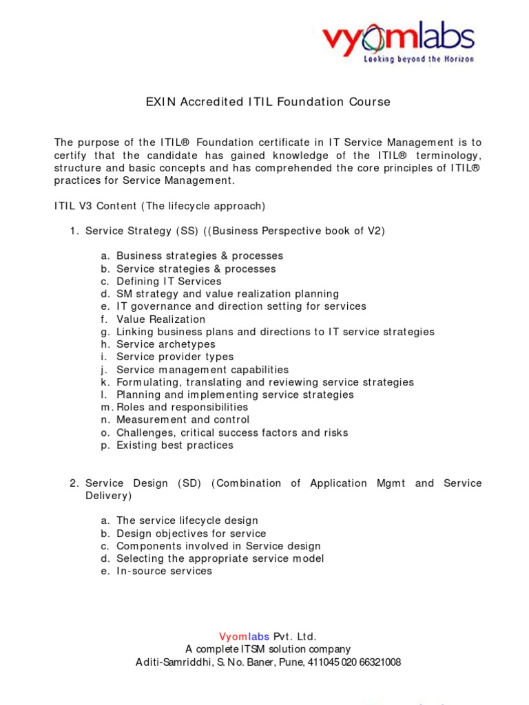 Course Contents Itil Fv3 Itil It Service Management