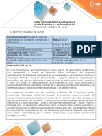 Syllabus del curso Fundamentos de Economía