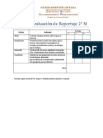 Pauta de evaluación de Reportaje 2° Medio