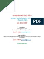ALVARO CARDONA; GUSTAVO A. CARDONA. INFORME No. 3. INFORMACIÓN EPIDEMIOLÓGICA COVID-19. COLOMBIA, ANTIOQUIA Y MEDELLIN. CORTE A 20.04.20