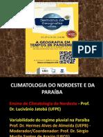 PALESTRA ENSINO DE CLIMATOLOGIA DO NORDESTE  BRASILEIRO