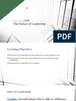 Chap 1 Intro to Leadership - Leadership and Entrepreneurship