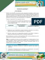 DESARROLLO EVIDENCIA FUNCIÓN DE LOS ALIMENTOS