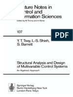 (Lecture Notes in Control and Information Sciences) Yih T. Tsay, Leang-San Shieh, Stephen Barnett - Structural analysis and design of multivariable control systems_ an algebraic approach-Springer-Verl.pdf