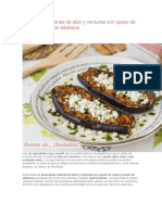 Berenjenas rellenas de atún y verduras con queso de cabra y aceite de albahaca