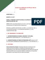 Modelo de demanda de desafiliación del SPP por falta de información