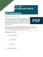 COURS N°3 LA CONSTRUCTION DES MOTS