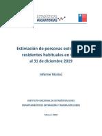 Estimación Población Extranjera en Chile 2019 Metodología
