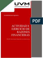 Actividad 8 - ejercicio de razones financieras