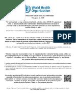 Documento atribuido a la OMS sobre el uso de las mascarillas