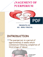 MANAGEMENT OF PUERPERIUM