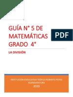 GUÍA N° 5 DE MATEMÁTICAS, LA DIVISIÓN.