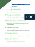 29 Municipios del Estado Táchira