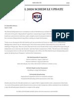 NISA Fall 2020 Schedule Media Release