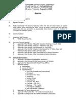Watertown City School District Board of Education agenda Aug. 4, 2020
