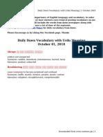 Daily Dawn Vocabulary