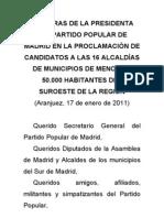Esperanza Aguirre presenta los 16 candidatos de municipios medianos y pequeños del suroeste