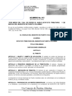 Acuerdo No. 012 Nuevo Estatuto Tributario