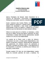 Cuenta Publica 2020 Sebastian Piñera E.