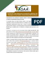 SOLIDARIEDADE COM ACADEMICOS G ANENSES CONTRA A APROVAÇÃO DO  PROJECTO DE LEI SOBRE AS UNIVE RSIDADES PUBLICAS NO GANA