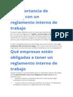 Cómo elaborar un reglamento interno de trabajo
