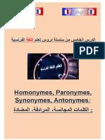 c5 homonymes paronymes synonymes  antonymes