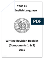 Year 11 English Language Types of Writing Revision Booklet 2019