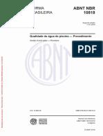 NBR 10818-2016 Qualidade de Agua de Piscina