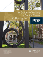 A Guide to Writing a Senior Thesis in History and Literature