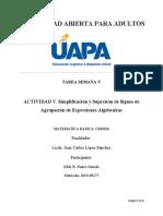 ACTIVIDAD 5. Simplificación y Supresión de Signos de Agrupación de Expresiones Algebraicas