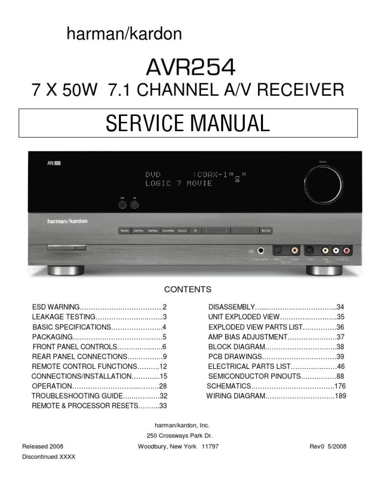 harman kardon avr 254 service manual video hdmi rh scribd com
