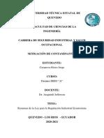G5 RESUMEN EXPOSICION DE LA LEY PARA LA REGULACIÓN INDUSTRIAL ECUATORIANA