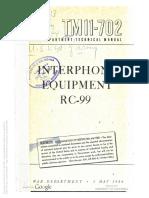 TM 11-702 Interphone Equipment RC-99 1944