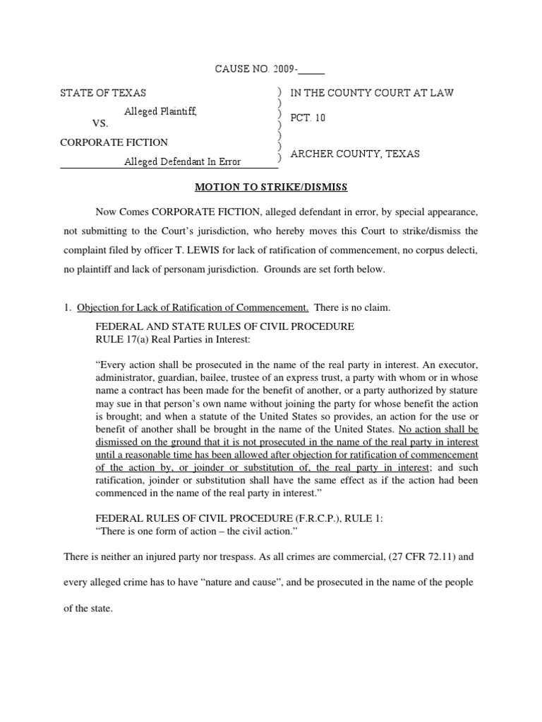 Motion to Dismiss Strike for lack of standing-Generic | Federal ...