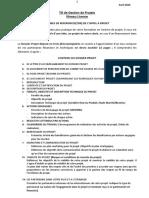 TD GESTION DE PROJETS Avril 2020