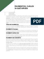 INFORME TIPOS DE PAVIMENTOS